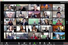 Zoom meeting with screens on