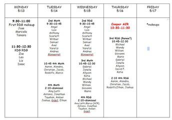 Lauren's NWEA Testing Schedule