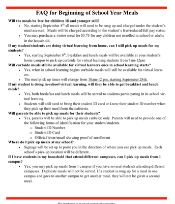 FAQ for Beginning of School Meals