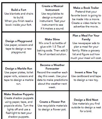 STEM At Home Challenge List #2