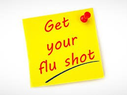 Get your flu shot (tacked yellow sticky)
