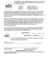 Carpenter Spelling Bee Info & Permission Slip