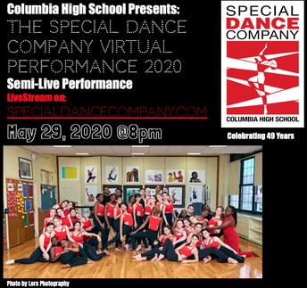 Mark Your Calendars:  CHS Special Dance Company Livestream Celebration, Fri., May 29 @ 8pm