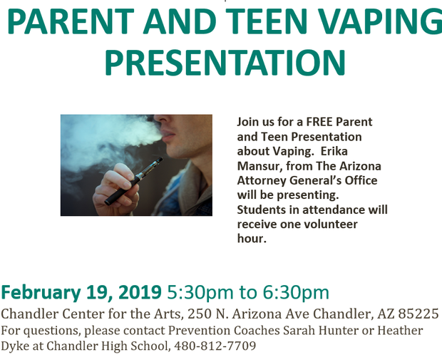 Parent and Teen Vaping Presentation Flyer