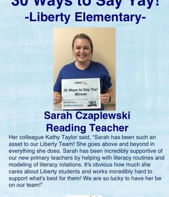Sarah Czaplewski, Maestra de Lectura