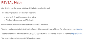 New: Reveal/ALEKS support page