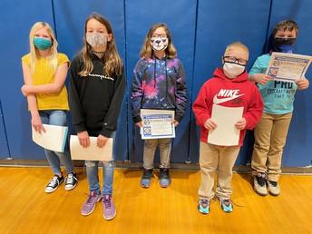 Grades 3-5 January Kindness Award Recipients
