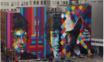 Artist Eduardo Kobra's Bob Dylan Mural in Minneapolis