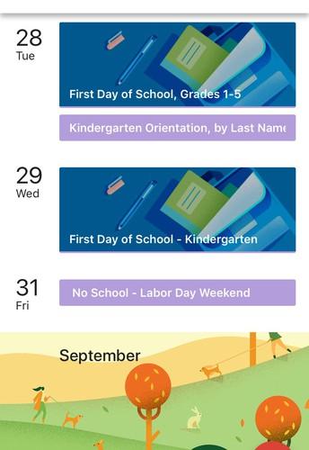 Online Vernfield Calendar