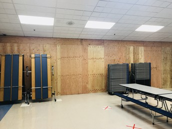 Temporary wall in cafeteria to prep for cafeteria expansion