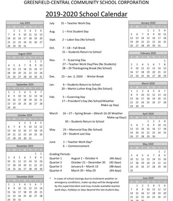 2019-2020 School Calendar (updated 8/10/19)