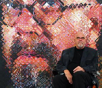 Chuck Close with Self-Portrait
