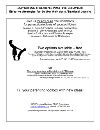 Free March Workshops for Parents/Caregivers-Being held in Townsend and Ashby- Supporting Children's Positive Behavior