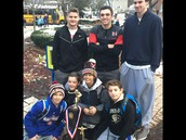 Fifth graders with Maine South's state champion trophy