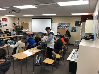 Mr. Birdwell's American History class works on a project