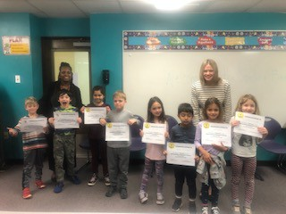 The two spelling champions and awesome finalists with Mrs. Horn and Ms. Hellthaler