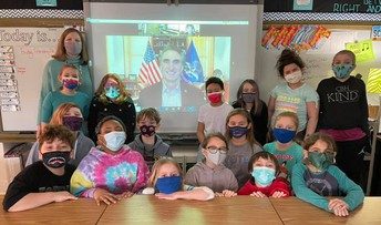 Governor Visits with Clara Barton Class