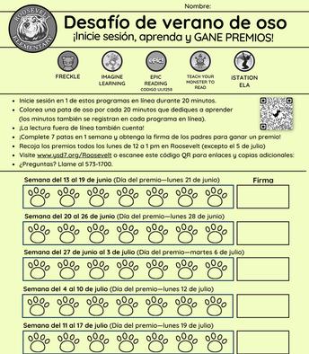 Bear Summer Challenge—Spanish