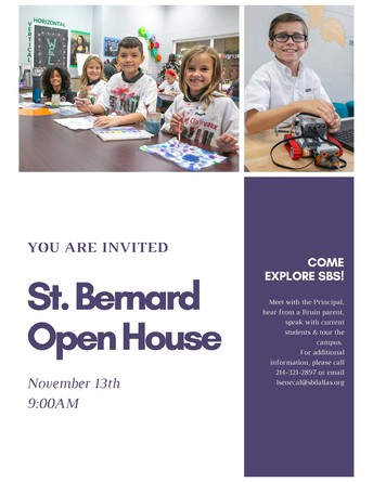 Open House for New Families - Wednesday, November 13th