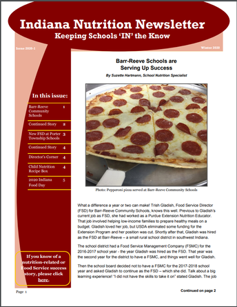 Indiana Nutrition Newsletter Now Available