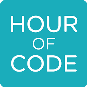 Hour of Code square turquoise logo