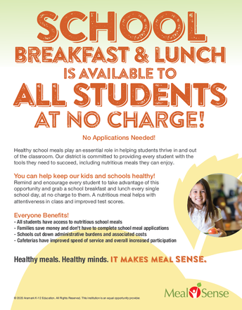 SCHOOL BREAKFAST AND LUNCH AVAILABLE TO ALL STUDENTS