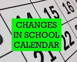 URGENT - Changes to School Calendar!