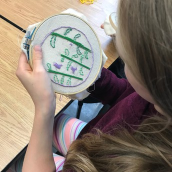 5th grade art show:  Climate Change Awareness, One Stitch at a Time
