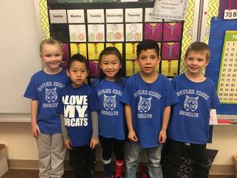 Mrs. Butler's kindergarten students show their Bobcat pride.