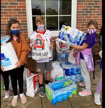 Students with items collected