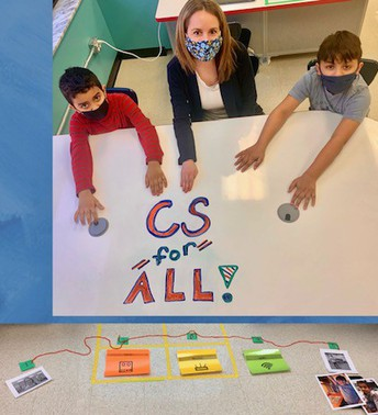 """Ms. Stahl and students with a message of """"CS for All!"""""""