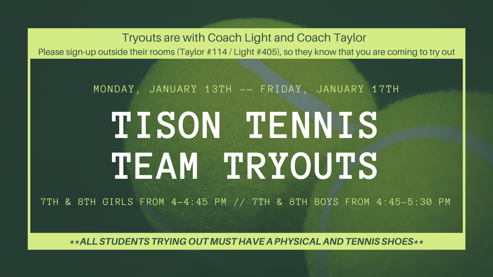 Tison Tennis Team Tryouts