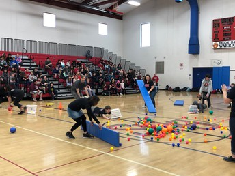 Human Hungry Hippos on Team Day