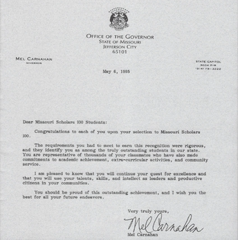 LETTER FROM GOVERNOR CARNAHAN