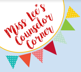 Graphic of a banner with Miss Lee's Counselor Corner Script