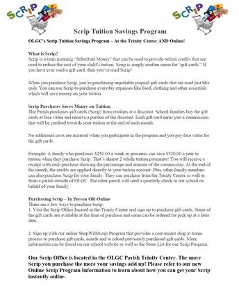 Scrip Tuition Saving Program