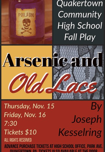 Arsenic and Old Lace will be performed Friday night and Sunday afternoon