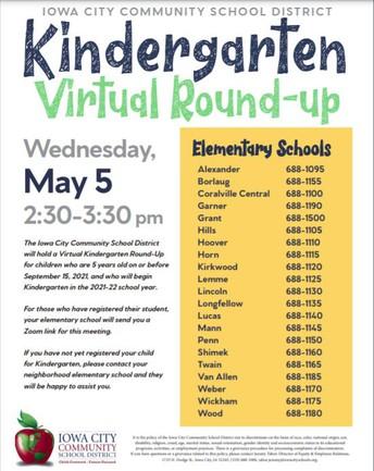 2021 Kindergarten Round Up (District Message)