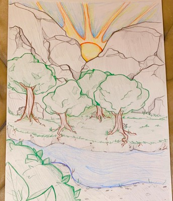 pencil landscape drawing of river, with grove of trees and sun coming up over mountains