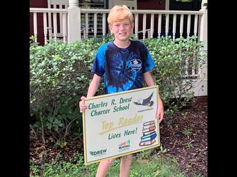 Congratulations Top Reader- Julian Carlson 7th Grade