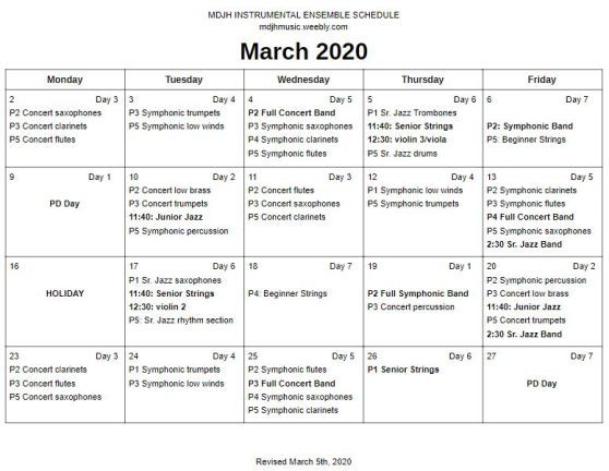 March Band Schedule