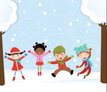 children jumping in the snow