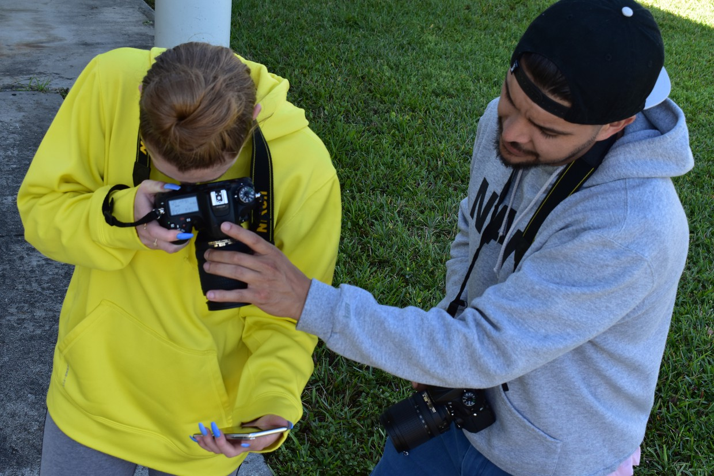 Students using a camera