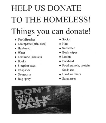 Homeless Project Items Needed-7th grade