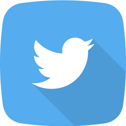 Blue with a little bird that represents our twitter