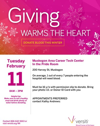 Career Tech Center in Muskegon Winter Blood Drive graphic