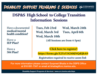 Disability Support Program & Services Transition Session: April 6 at 4-5 p.m.