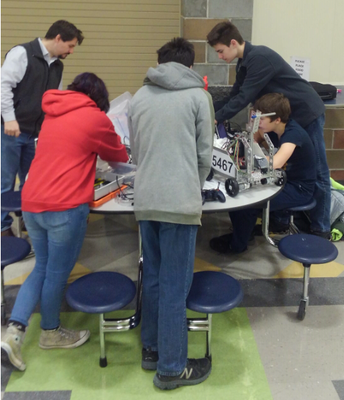 Middle schoolers getting their robot ready for the robotics competition!
