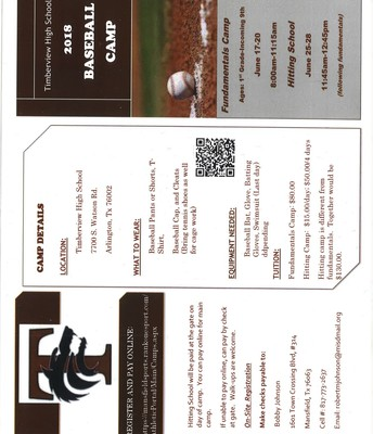 Timberview Baseball Camp