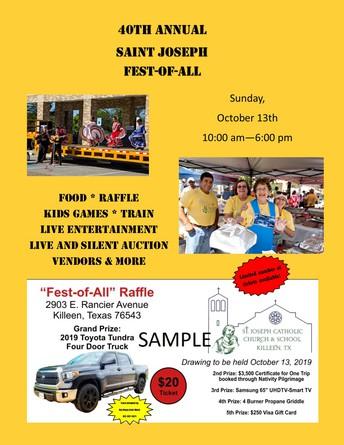 St. Joseph Catholic Church Fest-of-All October 13th